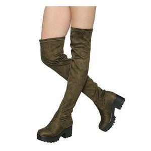 Elastic Block Heel Over the Knee Thigh High Boots